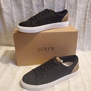 J.Crew Microsuede Sneakers with Leopard Trim Sz 7